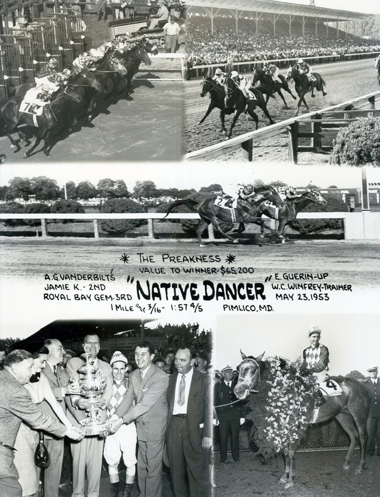 Win composite photograph for the 1953 Preakness Stakes, won by Native Dancer (owned by Alfred G. Vanderbilt II) (Pimlico Photo/Museum Collection)