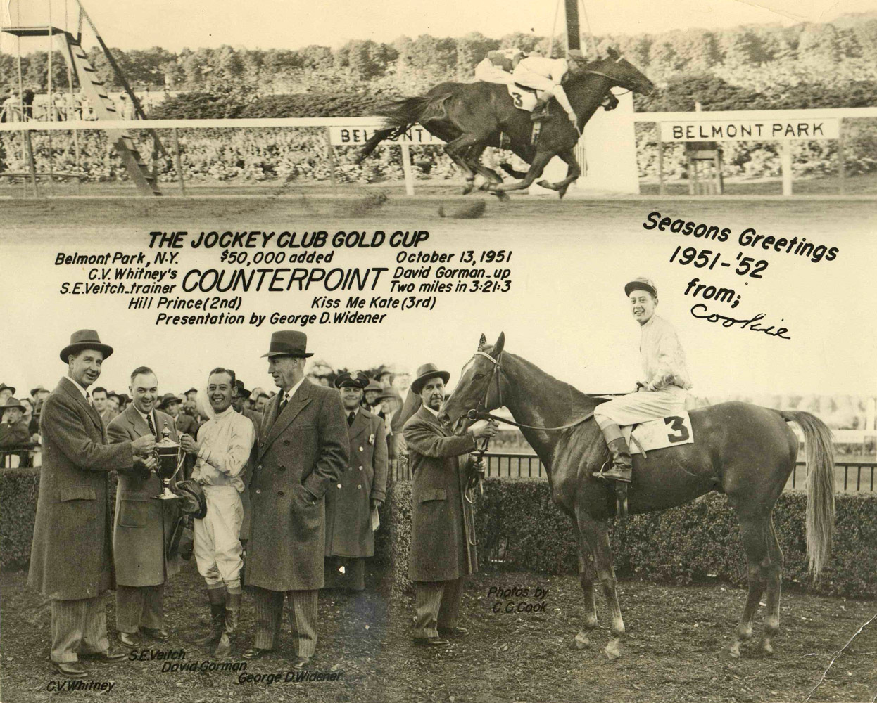 Win composite photograph for the 1951 Jockey Club Gold Cup won by C. V. Whitney's Counterpoint (C. C. Cook/Museum Collection)