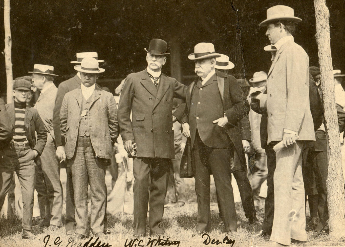 John Madden, W. C. Whitney, and Lord Derby at the Saratoga races in 1904 (Museum Collection)