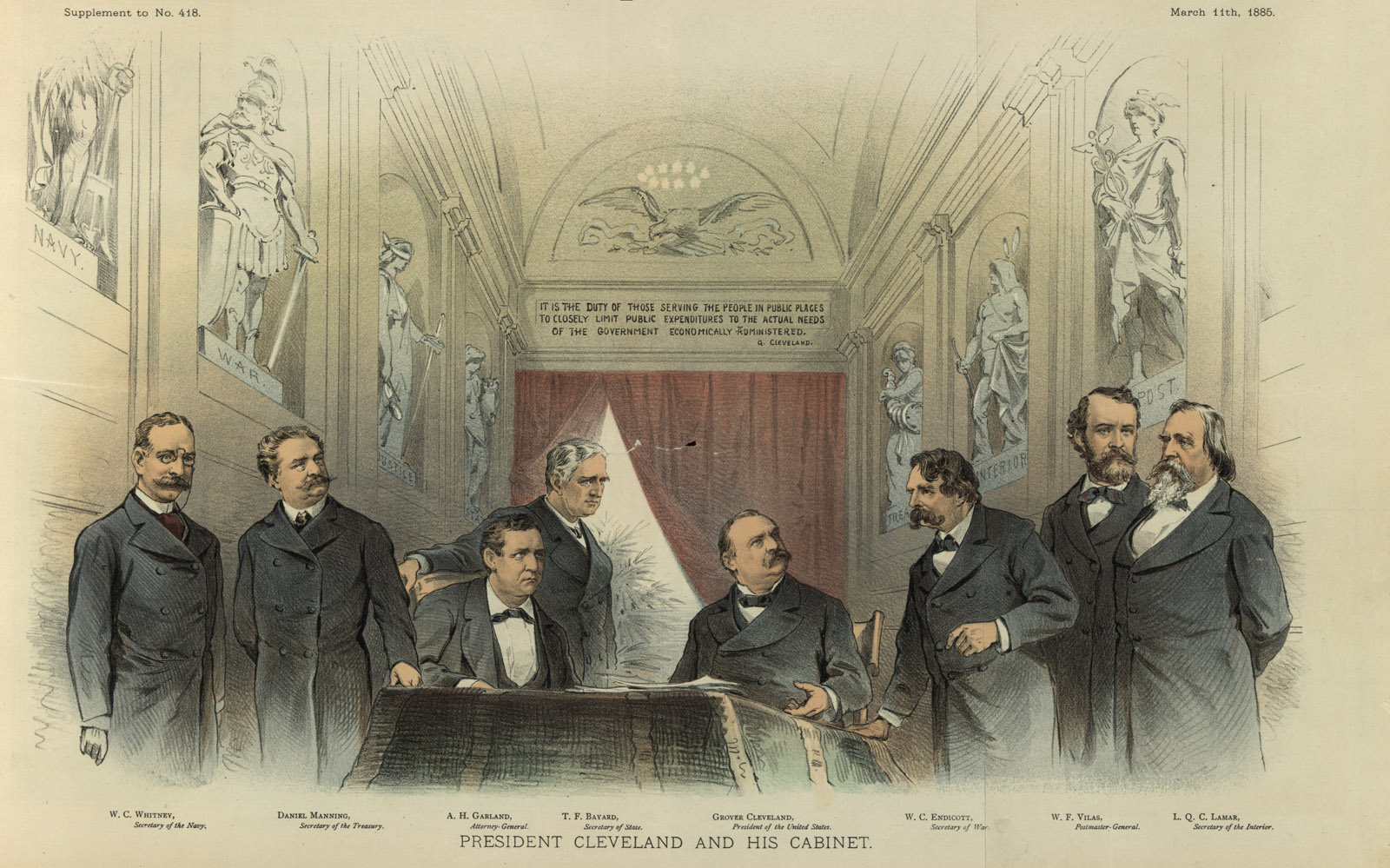 Illustration by Joseph Ferdinand Keppler showing President Cleveland sitting at a desk between his cabinet members, with Secretary of the Navy W.C. Whitney on the left (Library of Congress, Prints & Photographs Division, [LC-DIG-ppmsca-28178])