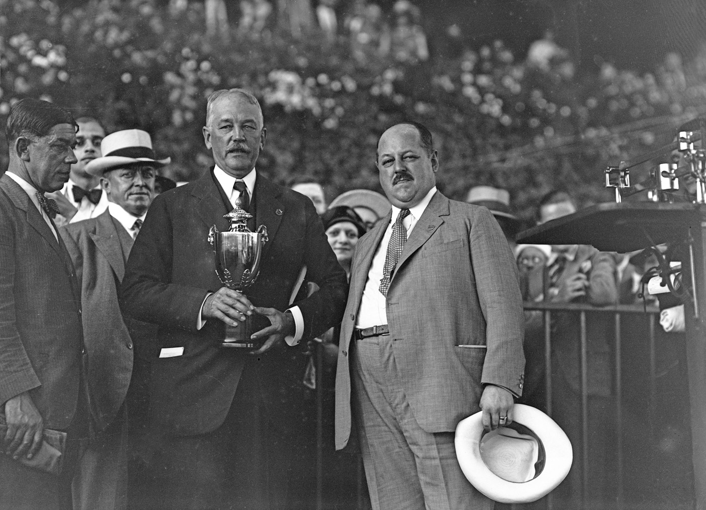 William Woodward, Sr. and George Bull at Saratoga (Keeneland Library Cook Collection)