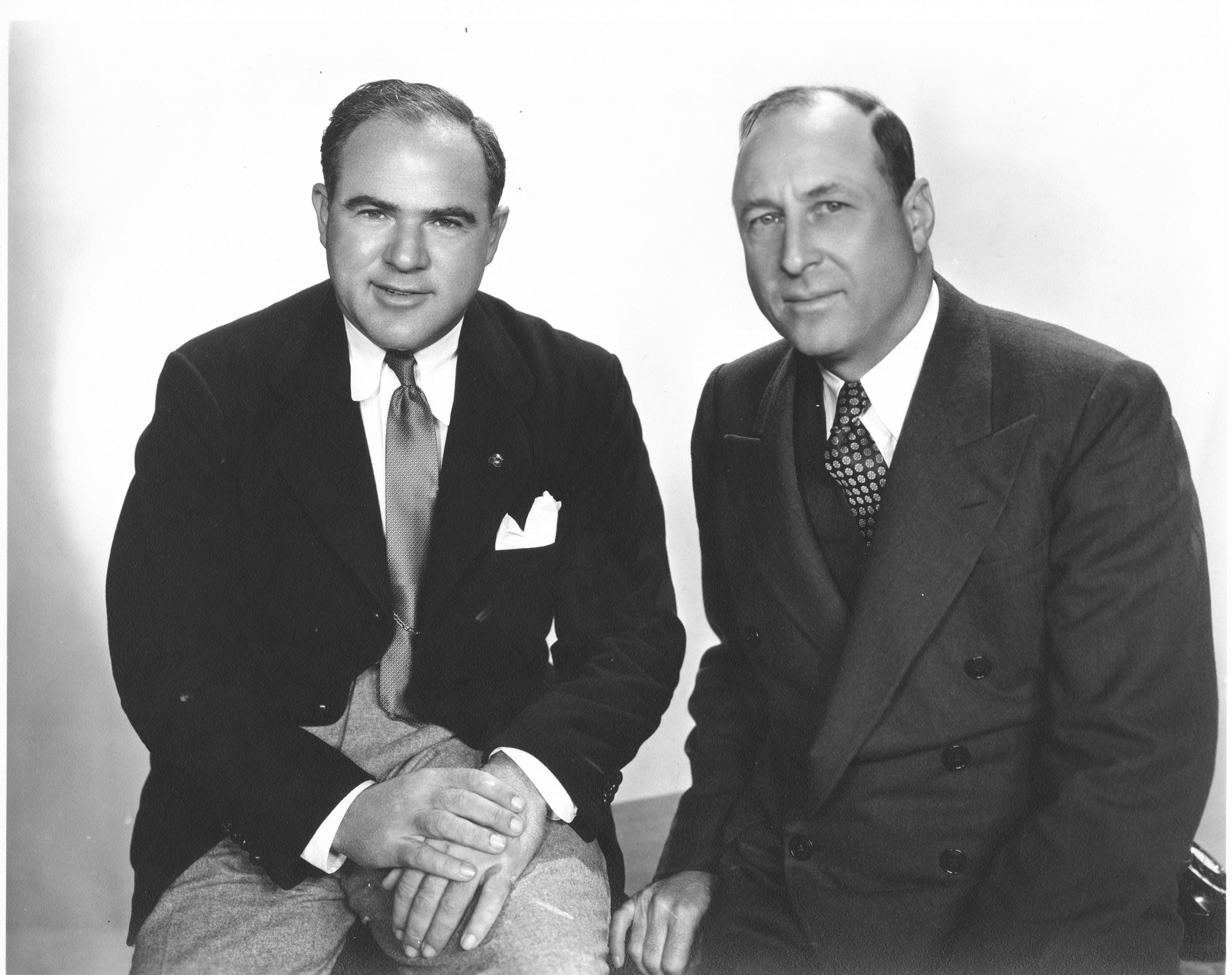 Hal Roach and Dr. Charles H. Strub, co-founders of the Los Angeles Turf Club which formed to build the first racetrack in California, Santa Anita Park (Santa Anita Photo)