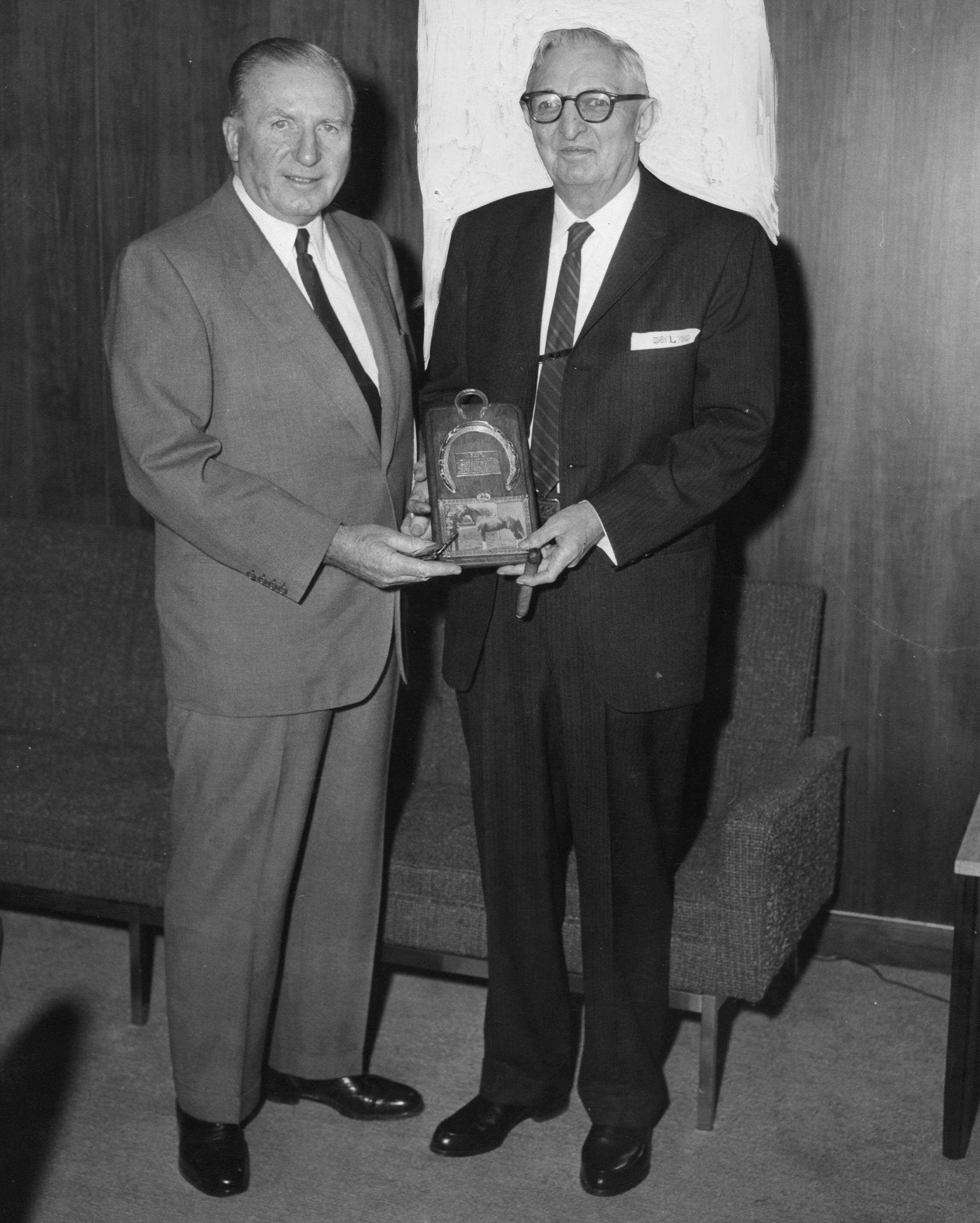 John Hanes presents Louis Feustel with an award (Bert and Richard Morgan/Museum Collection)