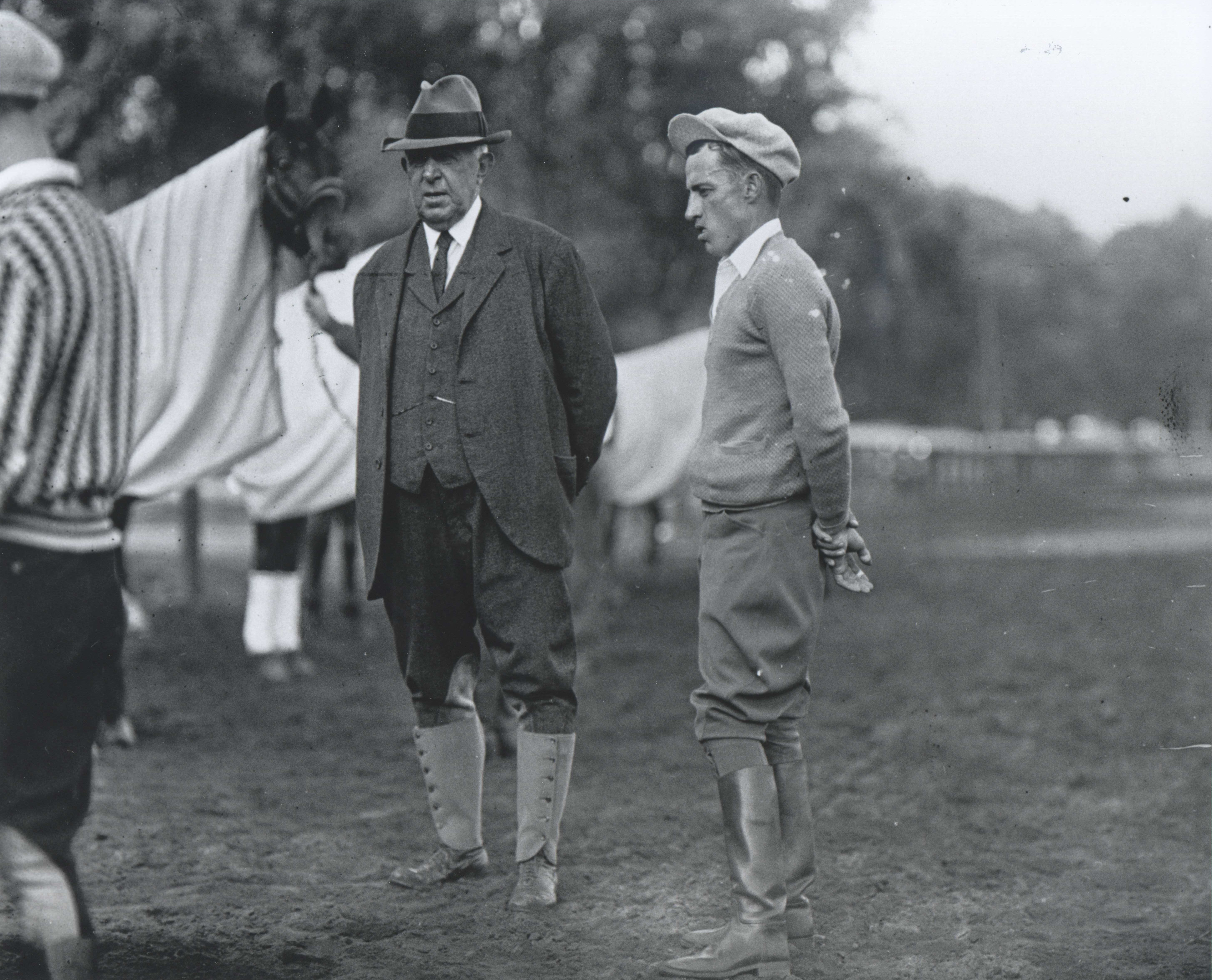 """Trainer Andrew J. Joyner and jockey J. Linus """"Pony"""" McAtee (Keeneland Library Cook Collection/Museum Collection)"""