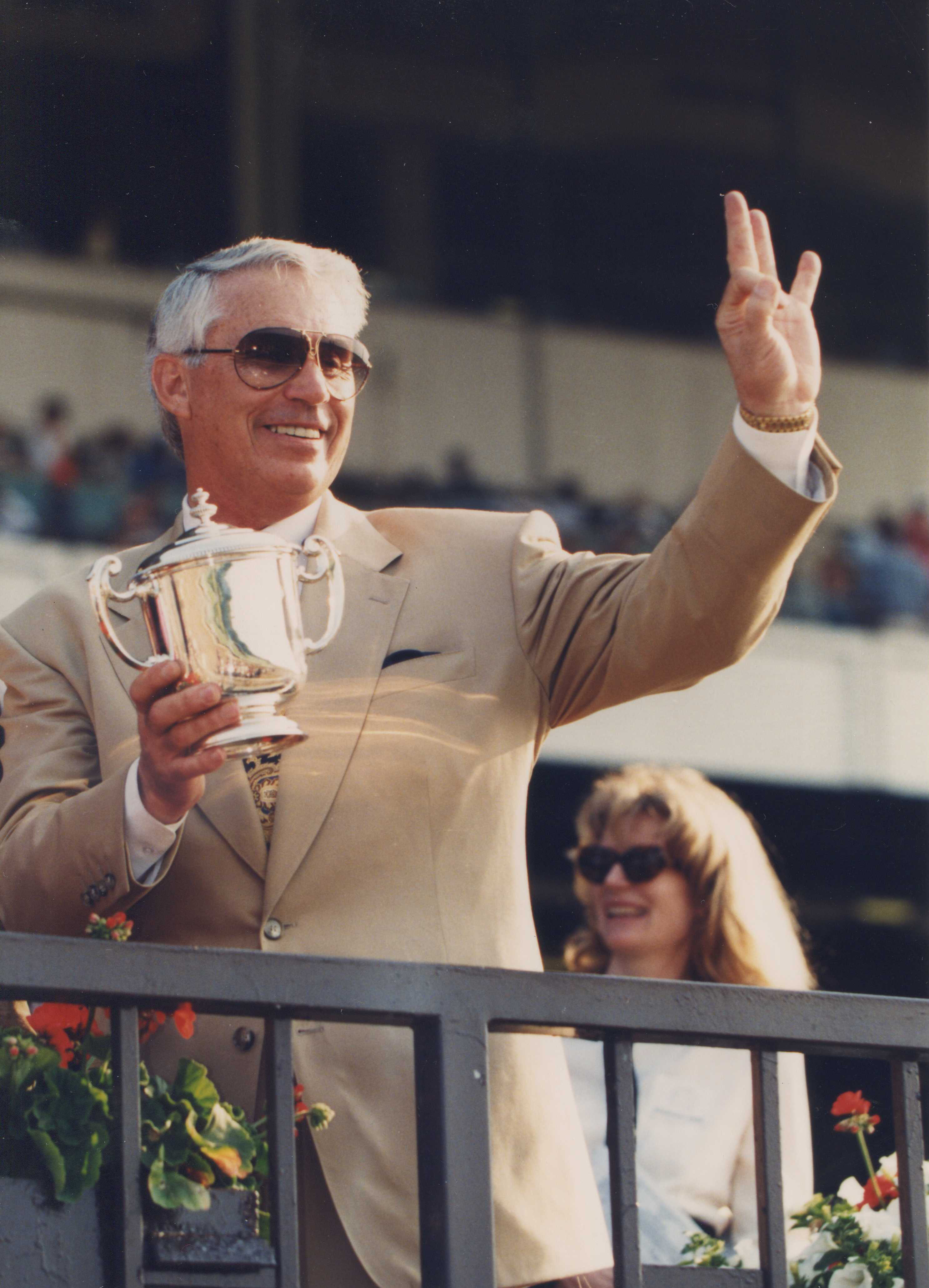 D. Wayne Lukas in the winner's circle at Belmont Park, June 1996 (Barbara D. Livingston/Museum Collection)