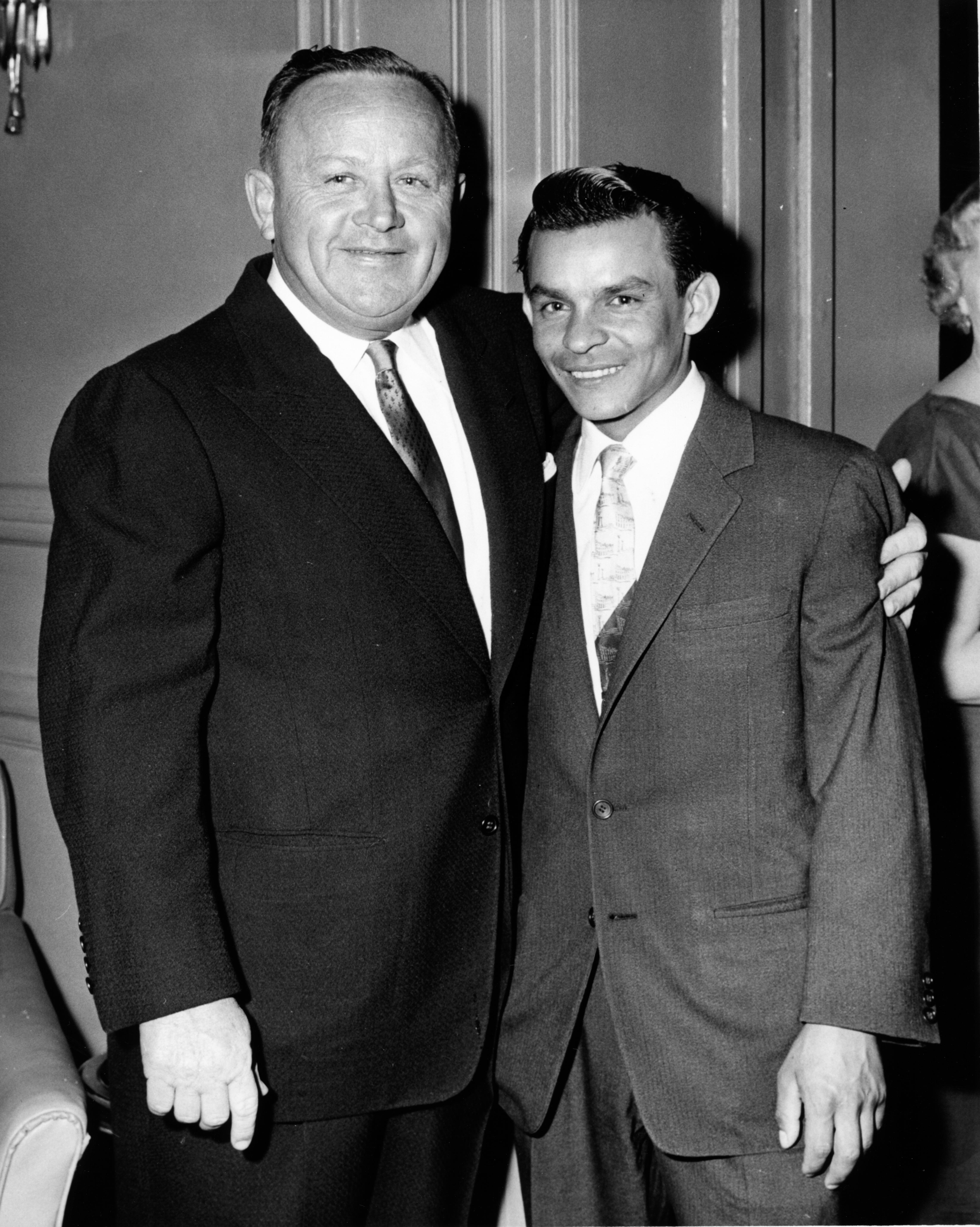 "Jimmy Jones and jockey Ismael ""Milo"" Valenzuela in 1958 (Pimlico Photo/Jerry Frutkoff /Museum Collection)"