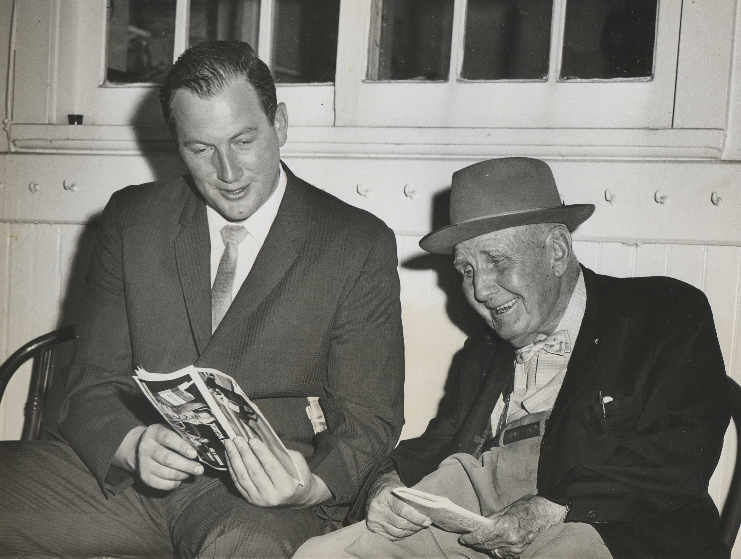 Allen Jerkens, left, and Sunny Jim Fitzsimmons at Aqueduct, 1962 (Museum Collection)