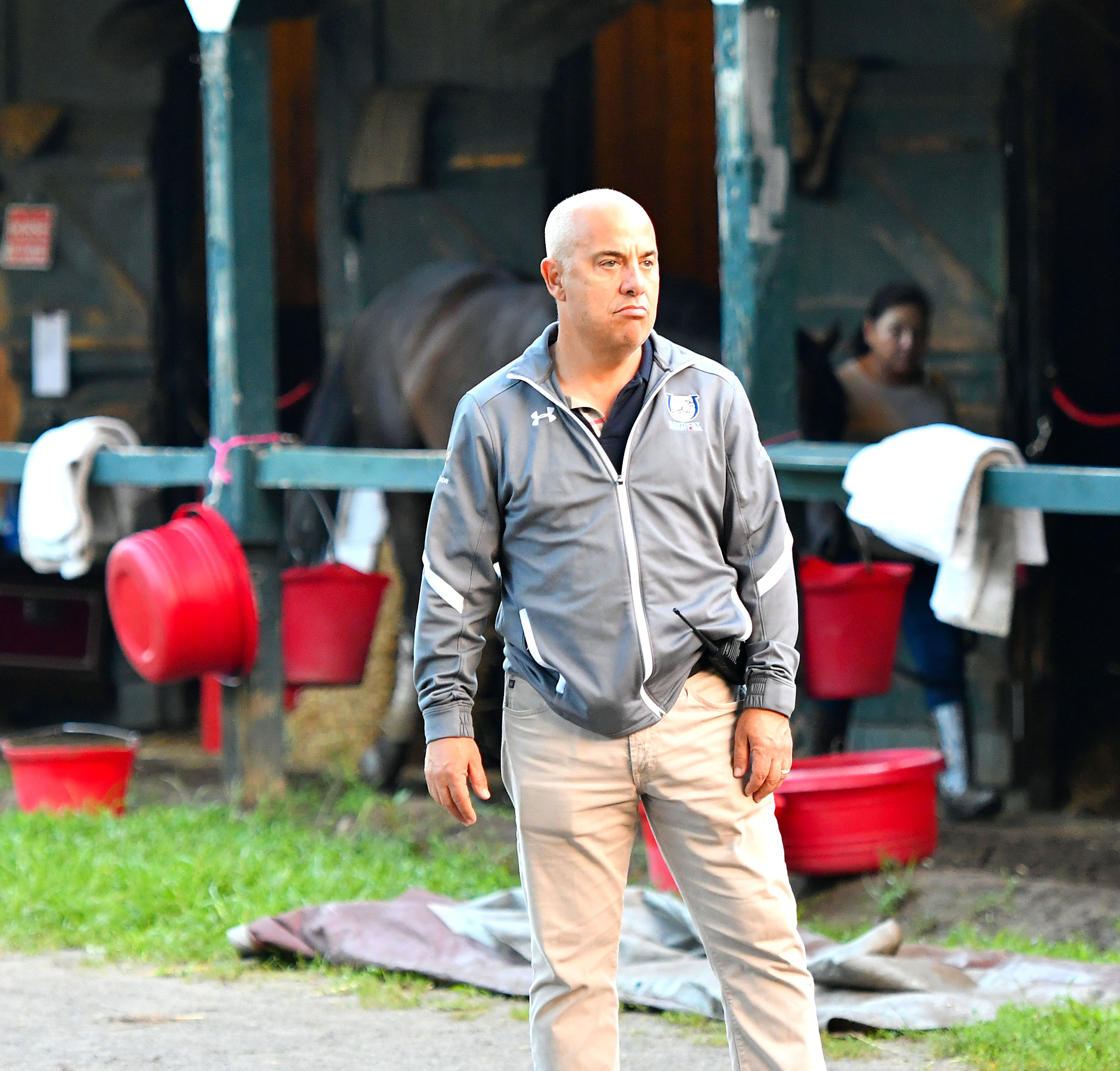 Mark Casse in the barn area at Saratoga Race Course, August 2018 (Brien Bouyea)