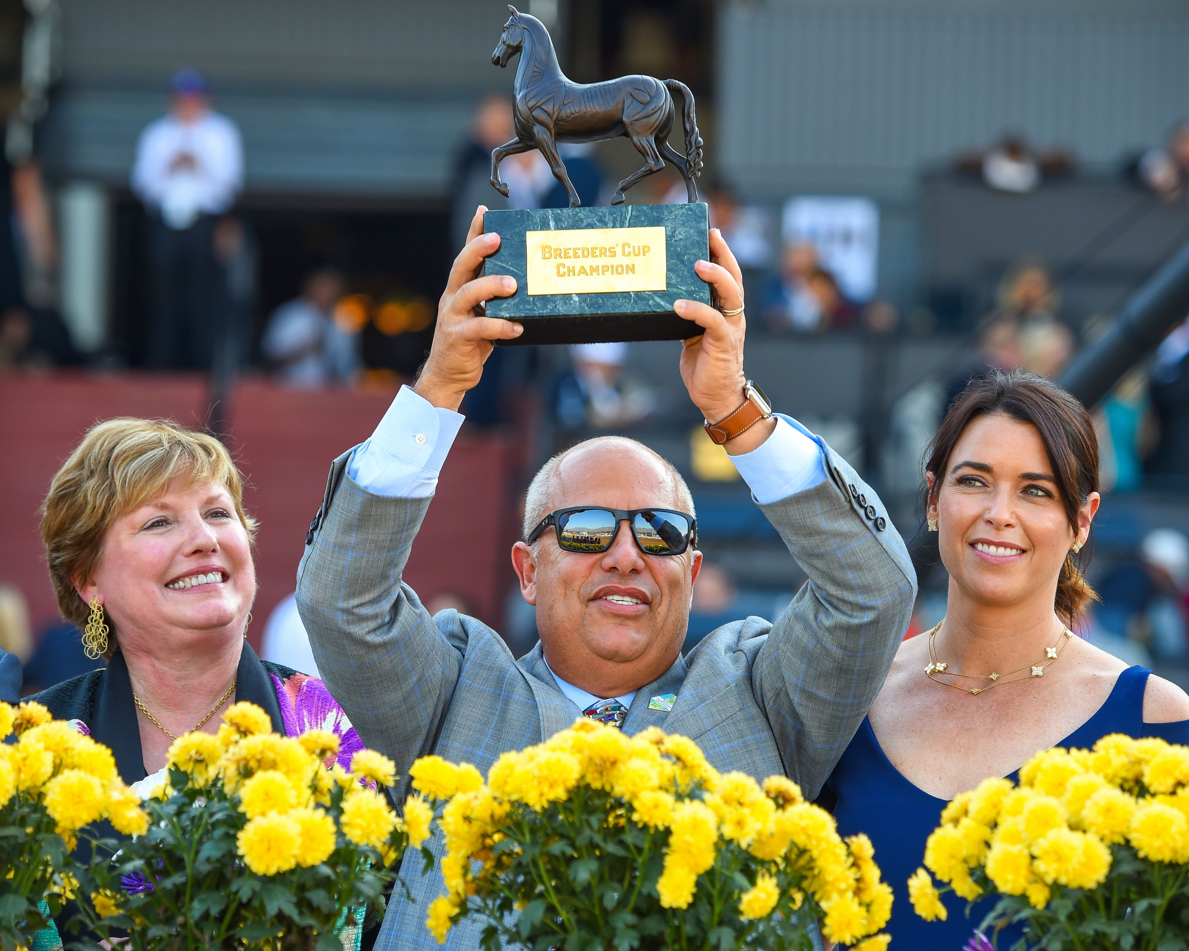 Trainer Mark Casse raises the trophy in celebration of his 2016 Breeders' Cup Juvenile win with Classic Empire at Santa Anita (Bob Mayberger)