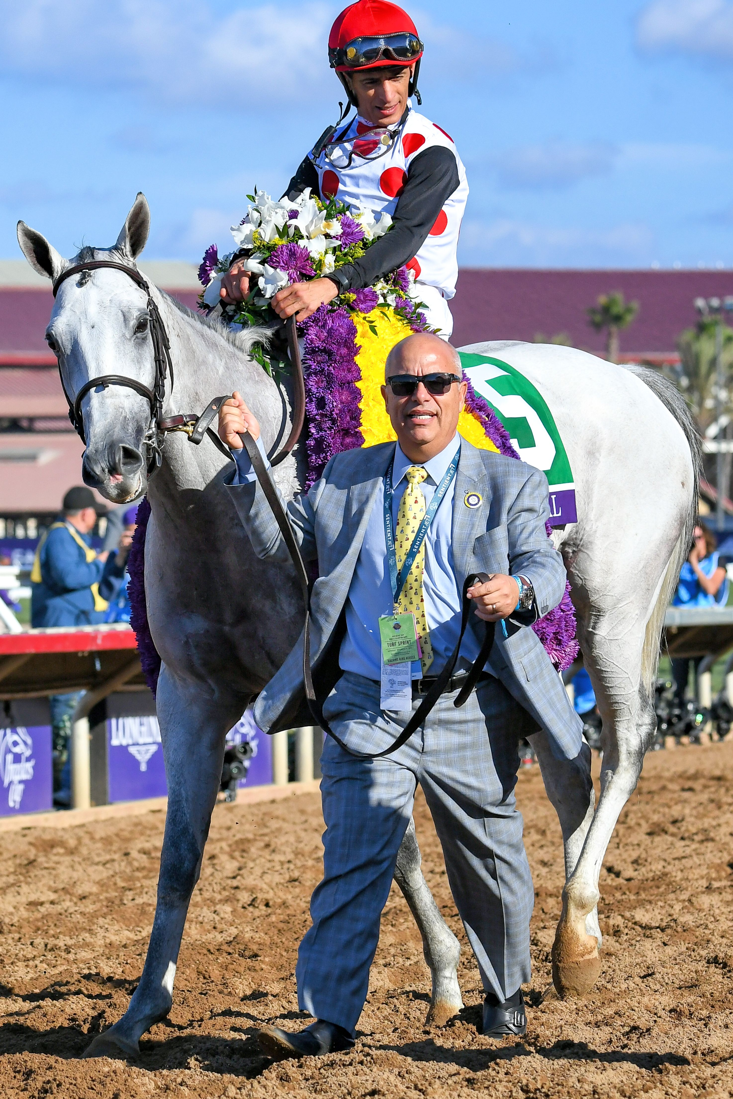 Mark Casse leads in World Approval (John Velazquez up) after winning the 2017 Breeders' Cup Mile at Del Mar (Bob Mayberger)