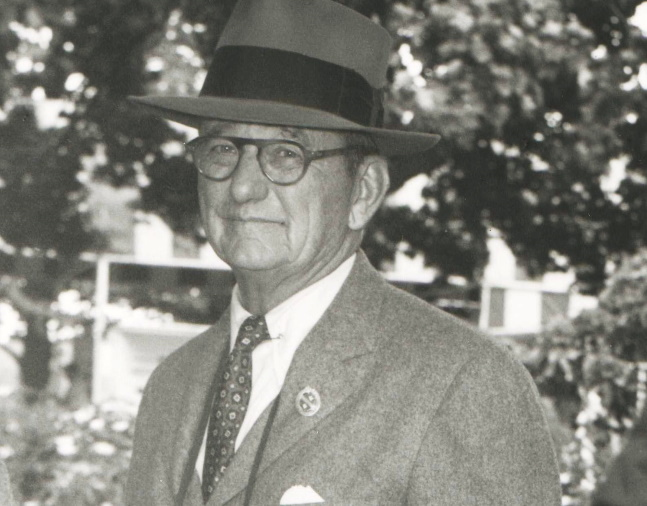 Preston M. Burch at Belmont Park, May 1949 (Keeneland Library Morgan Collection/Museum Collection)