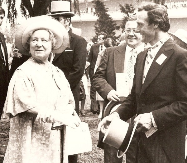 Roger Attfield with the Queen Mother at Woodbine, 1979 (Woodbine Photo)