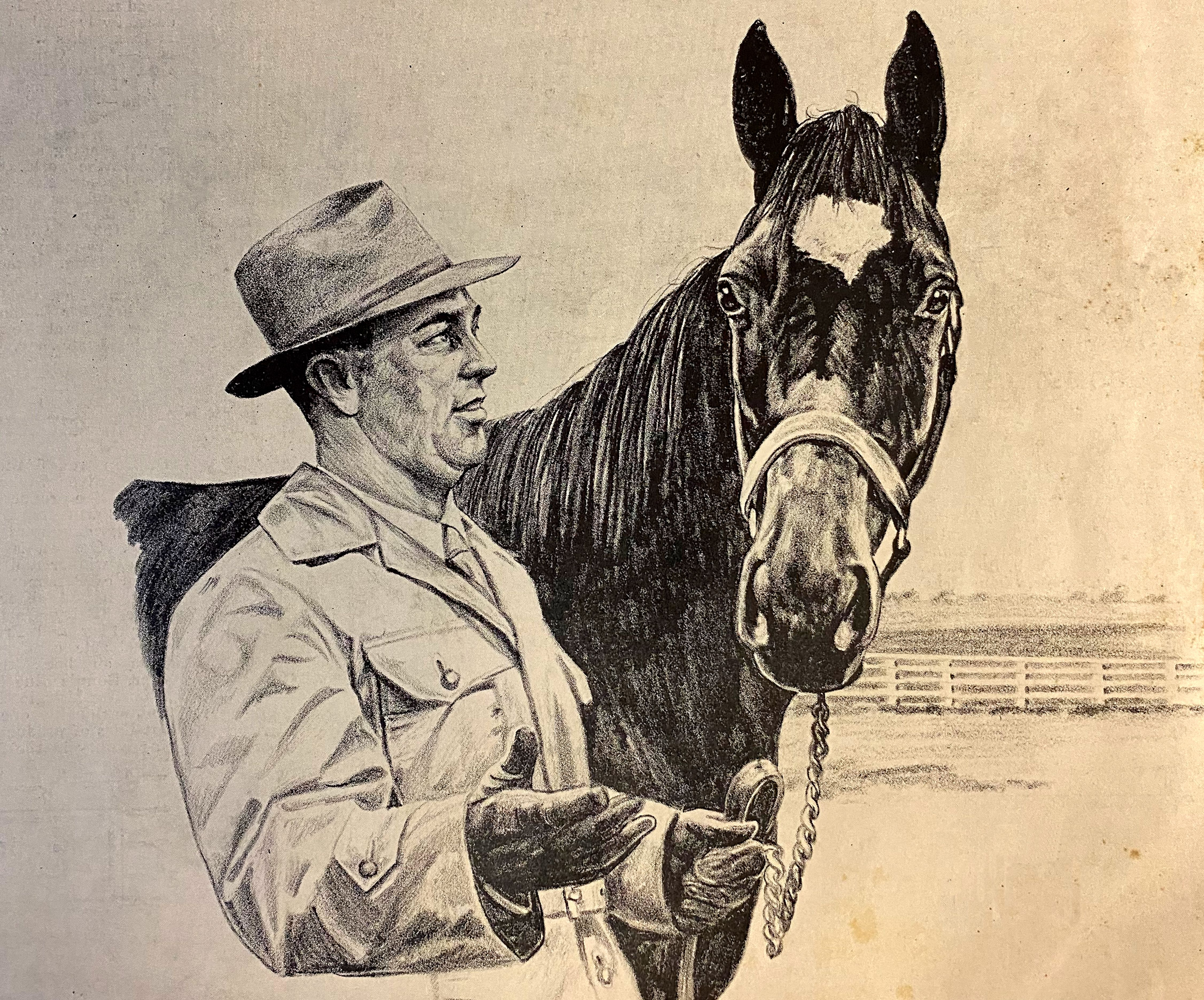 A sketch by Russ Ellis of trainer Syl Vetich with First Flight from the Feb. 15, 1947 edition of The Thoroughbred Record (Courtesy of Michael Veitch)