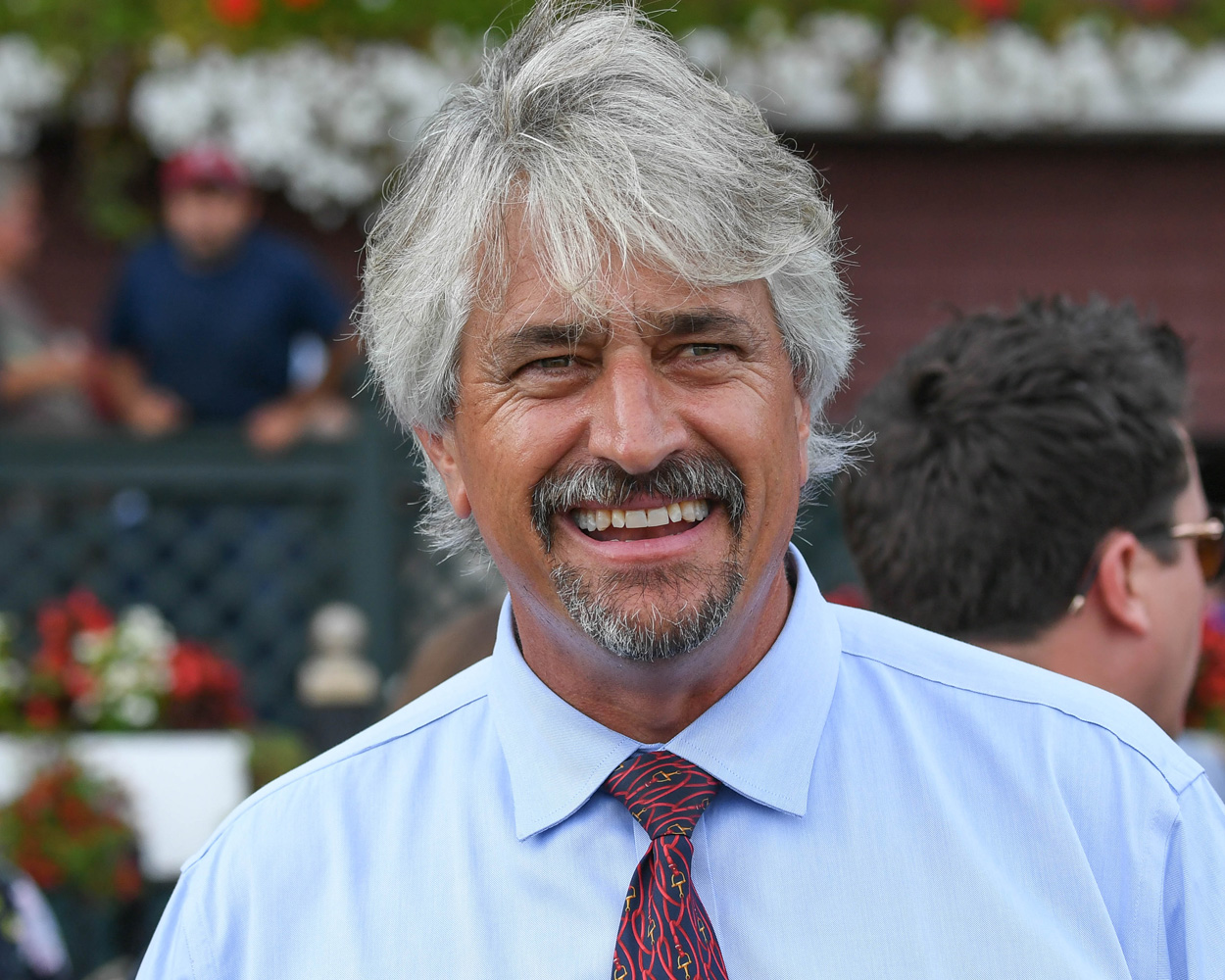 Steve Asmussen after winning the 2019 Hopeful Stakes with Basin at Saratoga Race Course (Bob Mayberger)