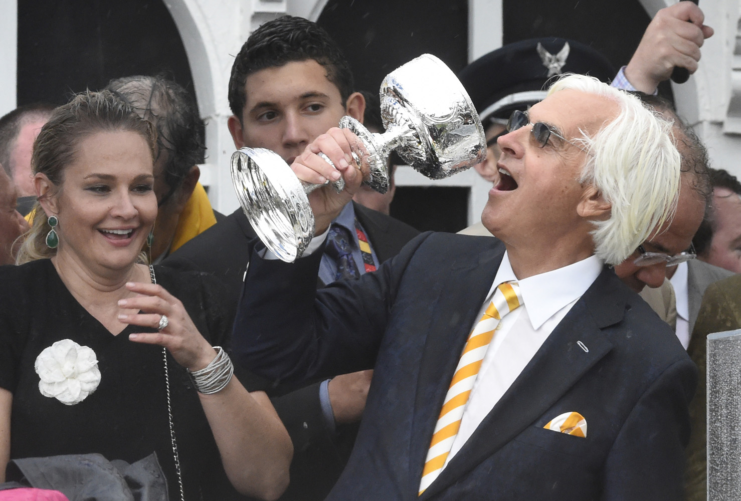 Bob Baffert celebrating after American Pharoah's 2015 Preakness Stakes victory (Skip Dickstein)