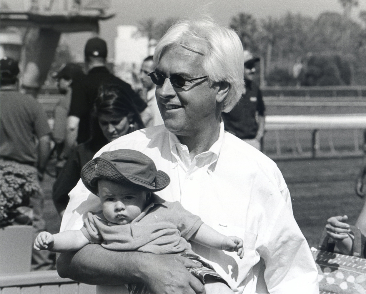 Bob Baffert and son Bode at Santa Anita Park, April 2005 (Bill Mochon/Museum Collection)