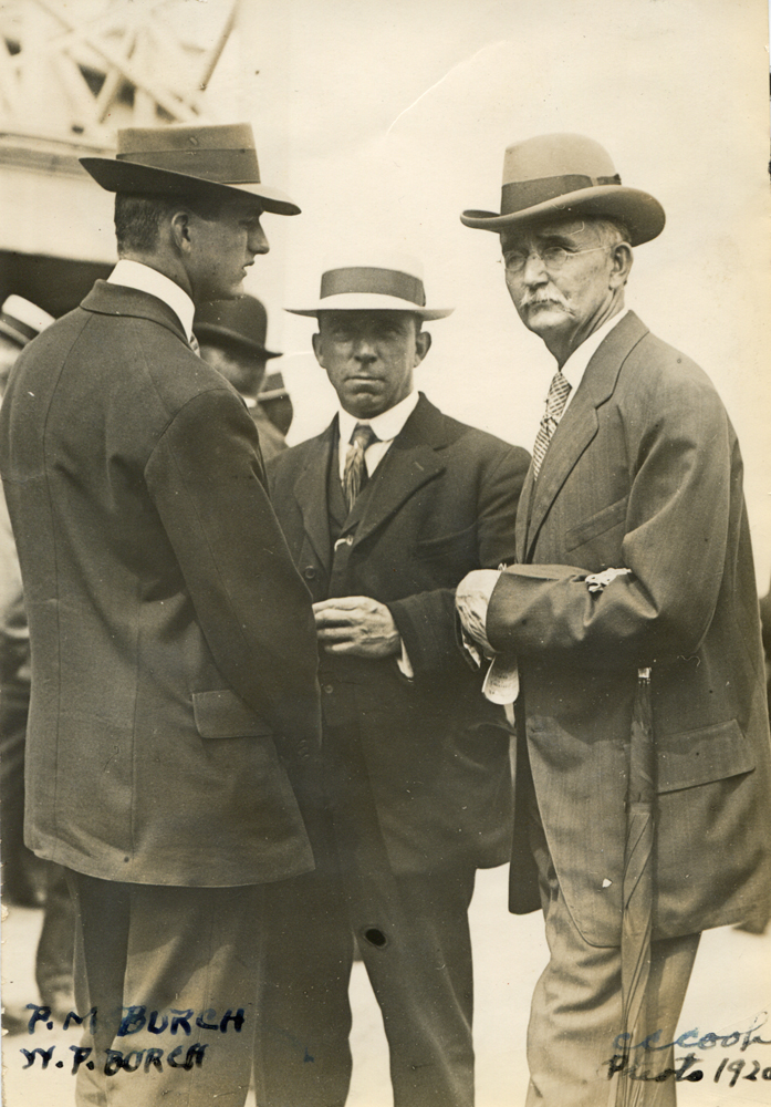 Preston M. Burch (on left) with his father, Hall of Fame trainer William P. Burch in 1920 (C. C. Cook/Museum Collection)