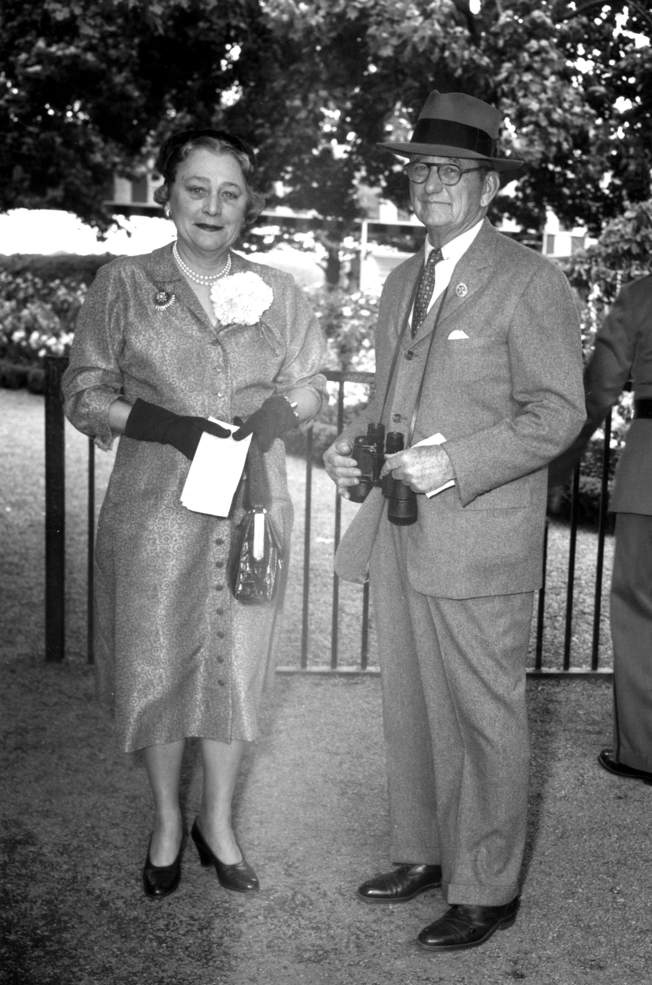 Isabel Dodge Sloane with Preston M. Burch at Belmont Park, May 1949 (Keeneland Library Morgan Collection/Museum Collection)
