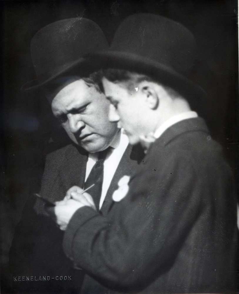 Fred Burlew and jockey Frank O'Neill (Keeneland Library Cook Collection/Museum Collection)