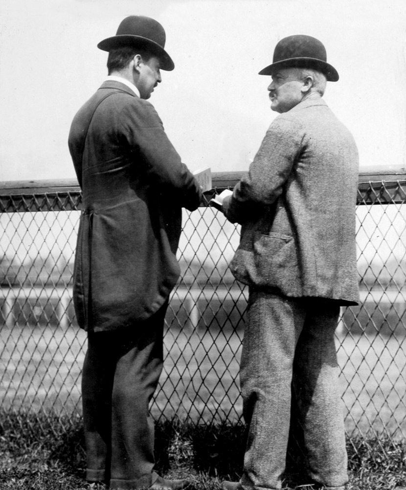 Matthew Byrnes (on right) in an undated photograph (Keeneland Library Hemment Collection)