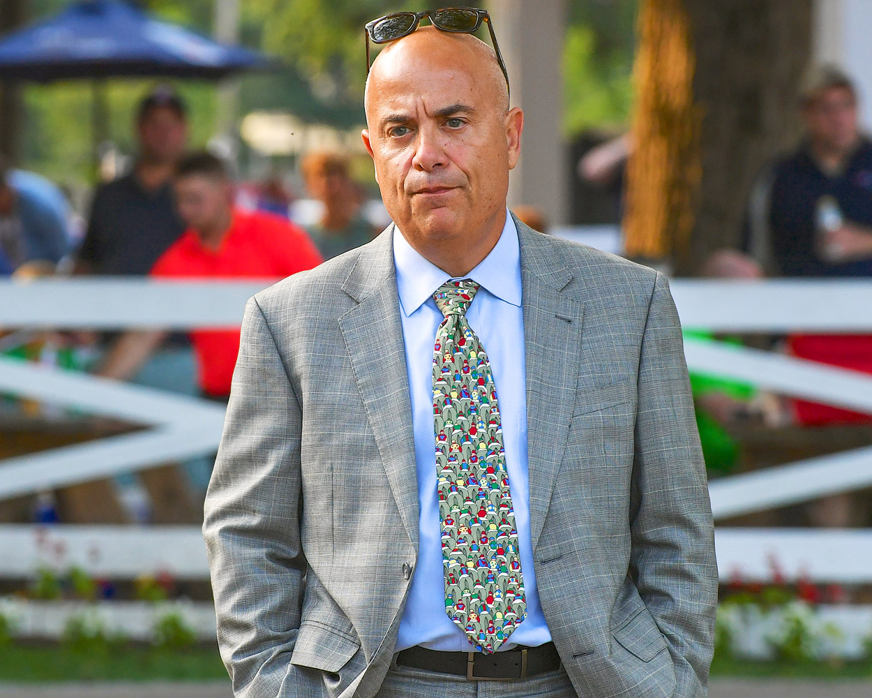 Mark Casse in the Saratoga paddock on Woodward Stakes day, September 2018 (Bob Mayberger)