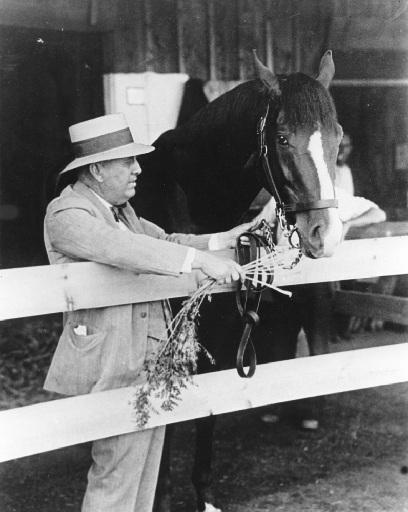 "James ""Sunny Jim"" Fitzsimmons and Gallant Fox, his first Triple Crown winner, in 1930 (Museum Collection)"