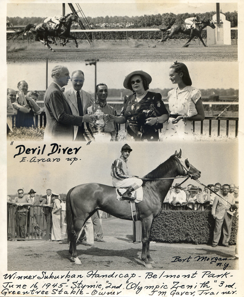 Win composite photograph for the 1945 Suburban Handicap at Belmont, won by Devil Diver (Eddie Arcaro up), trained by John M. Gaver, Sr. (Bert Morgan/Museum Collection)