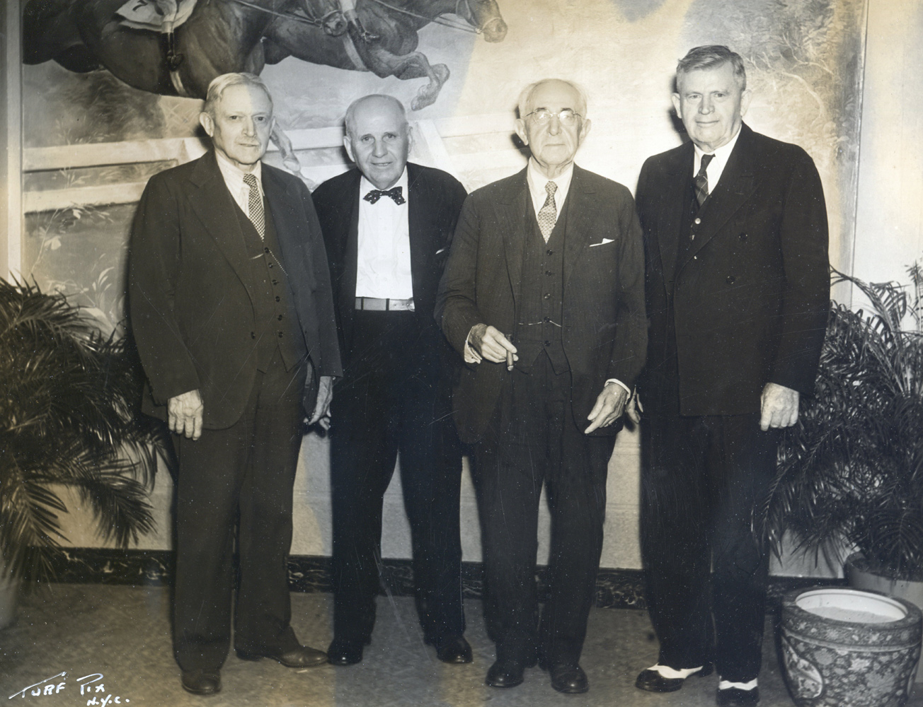Hall of Fame trainers Henry McDaniel, James Fitzsimmons, A. Jack Joyner, and T. J. Healey in Saratoga in 1939 (TurfPix/Museum Collection)