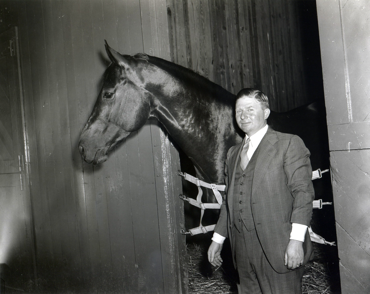 Hirsch Jacobs with Tight Shoes in the barn at Hialeah Park, February 1941 (Keeneland Library Morgan Collection/Museum Collection)