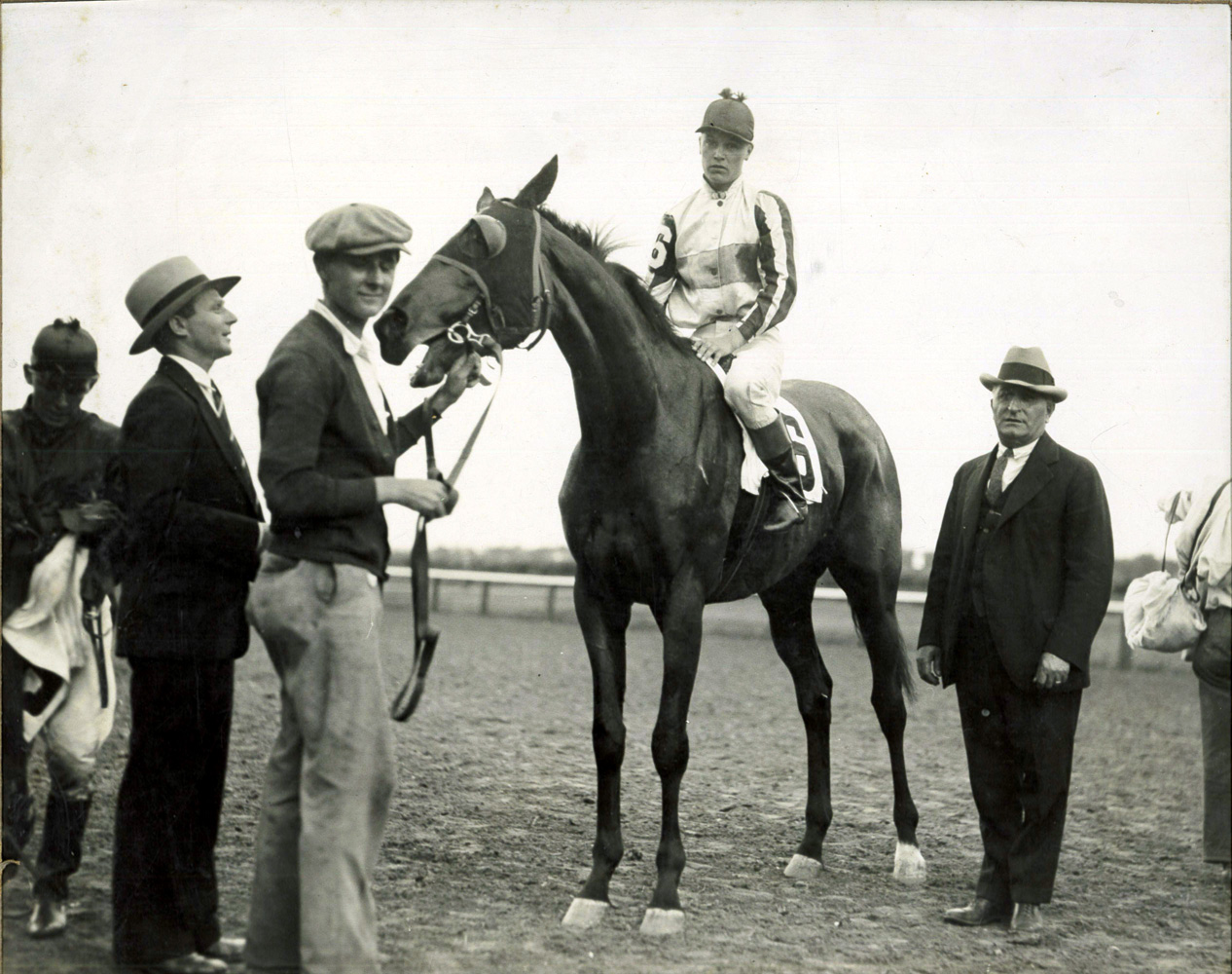 Hirsch Jacobs (far left) in the winner's circle at Oriental Park in 1927 (Museum Collection)