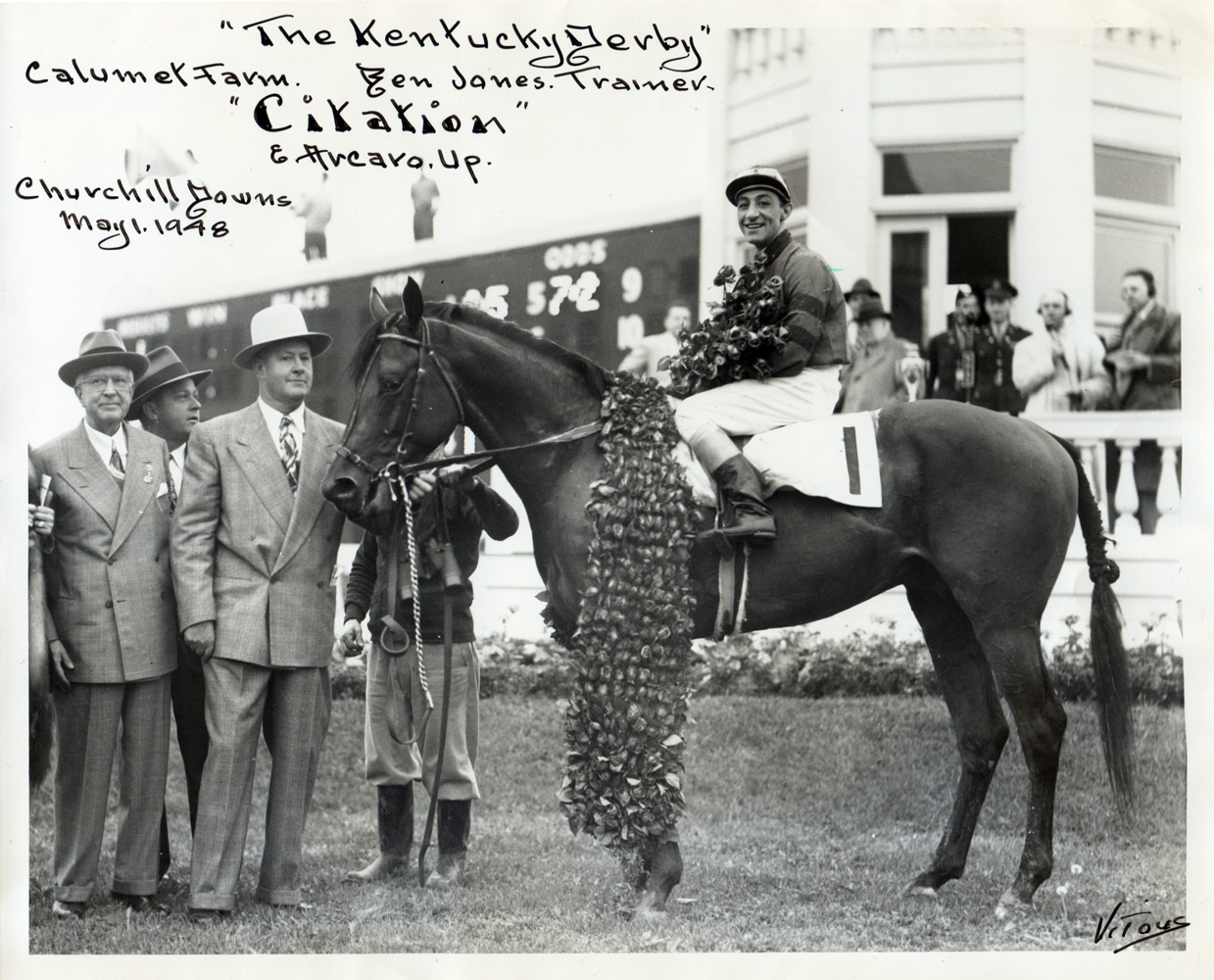 Ben Jones in the winner's circle for the 1948 Kentucky Derby, won by Citation. (His son, Jimmy Jones, would become the trainer of record for the last two legs of the Triple Crown) (Jerry Vitous/Museum Collection)