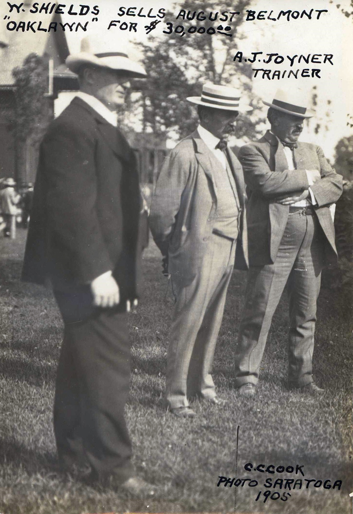 W. Shields, August Belmont II, and Andrew J. Joyner at Saratoga in 1905 (C. C. Cook/Museum Collection)
