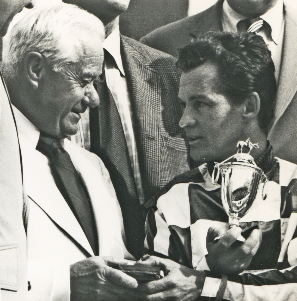 Lucien Laurin and Ron Turcotte celebrating their 1973 Kentucky Derby win with Secretariat (Museum Collection)