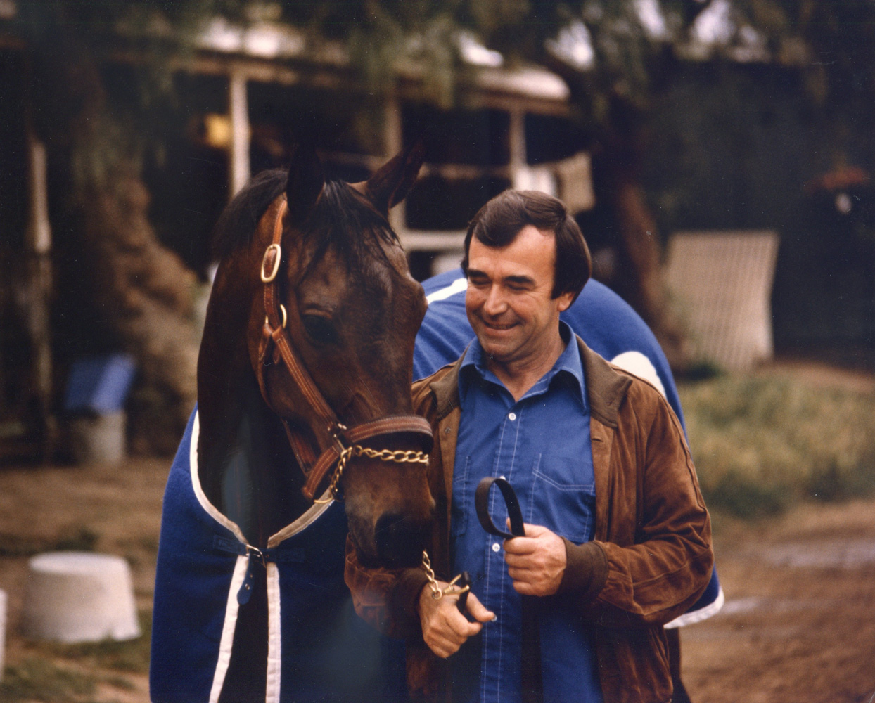 John Henry and trainer Ron McAnally at Hollywood Park in 1981 (Katey Barrett/Museum Collection)