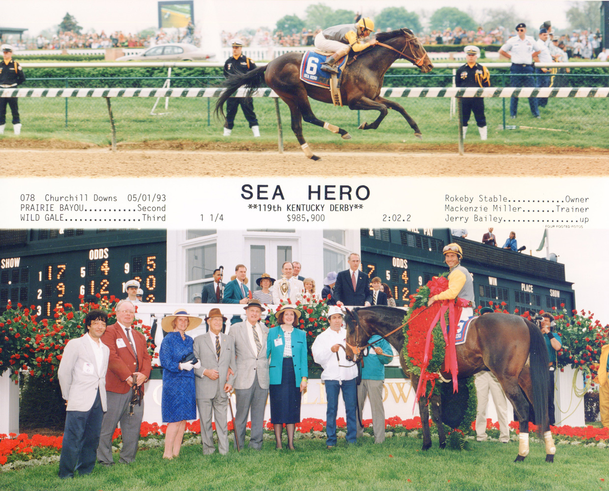 Win composite photograph for the 1993 Kentucky Derby, won by Sea Hero (trained by Mack Miller) (Four Footed Fotos, Inc./Museum Collection)