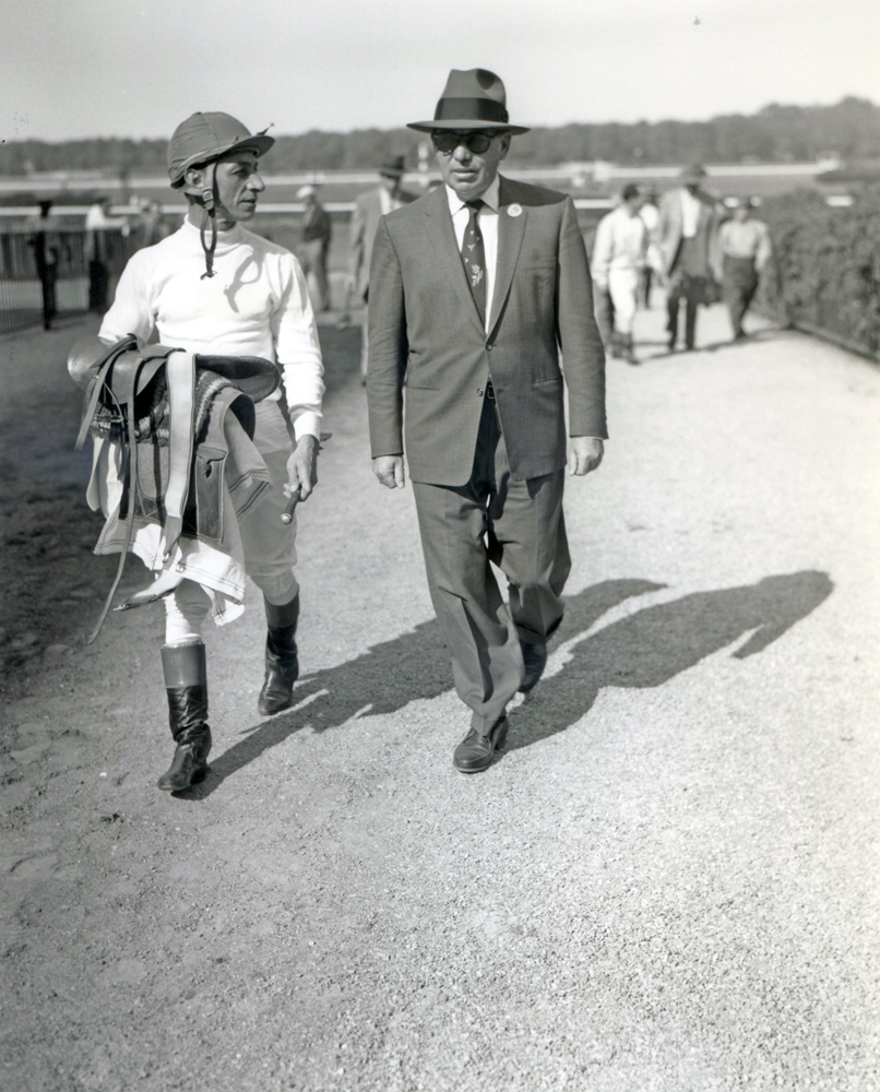 Eddie Arcaro and William Molter at Belmont Park in 1958 (Keeneland Library Morgan Collection/Museum Collection)