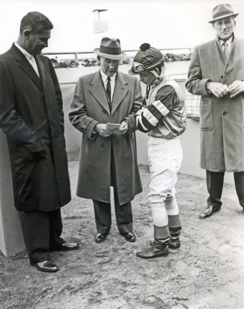 Trainer Burley Parke and jockey Milo Valenzuela at Aqueduct, April 1961 (Keeneland Library Morgan Collection/Museum Collection)