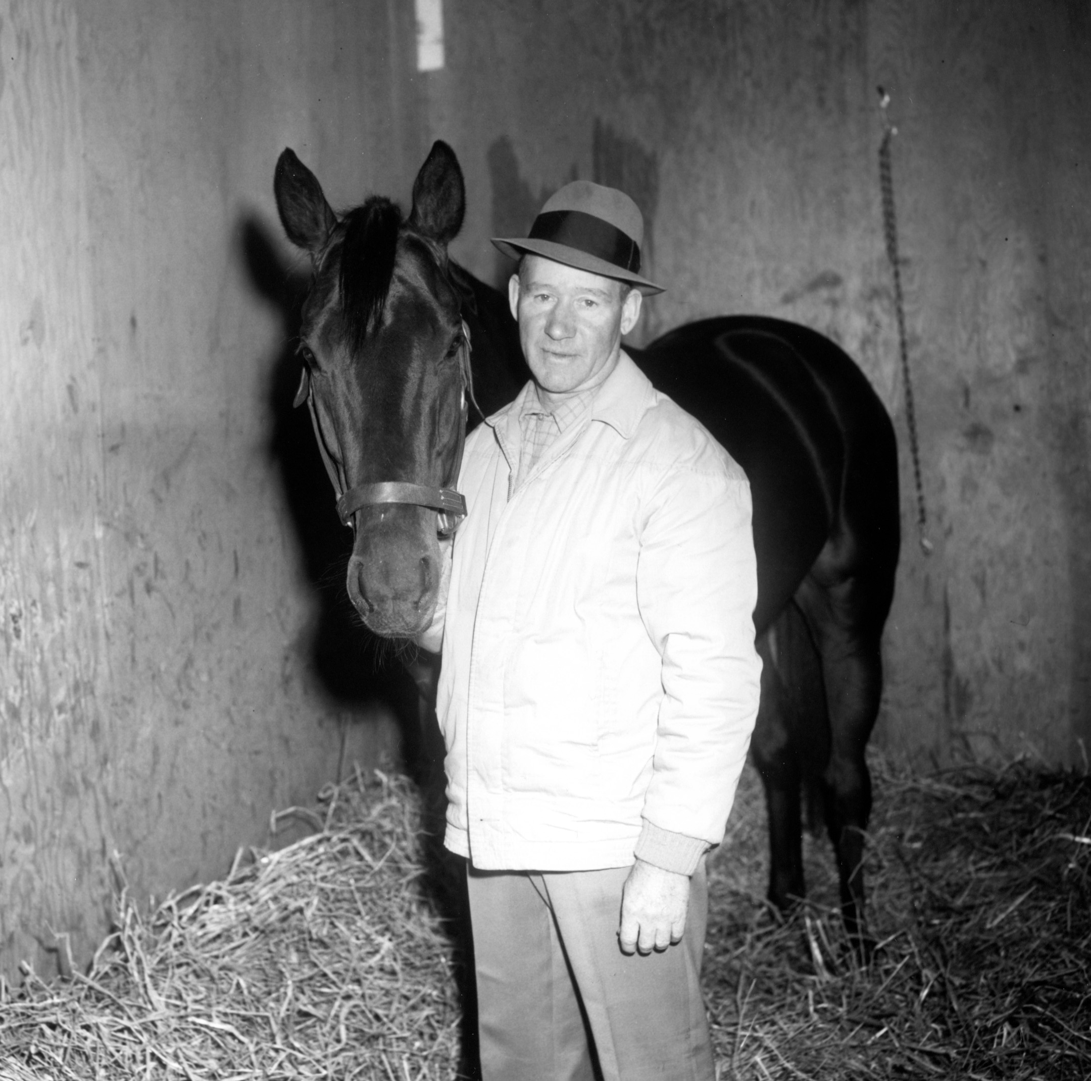 Burley Park with Garwol at Aqueduct, April 1961 (Keeneland Library Morgan Collection/Museum Collection)