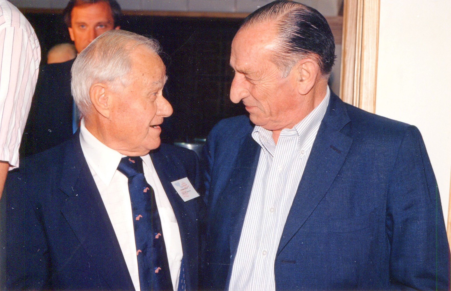 Hall of Fame trainers Lucien Laurin and Angel Penna at Hall of Fame Day, 1990 (Barbara D. Livingston/Museum Collection)