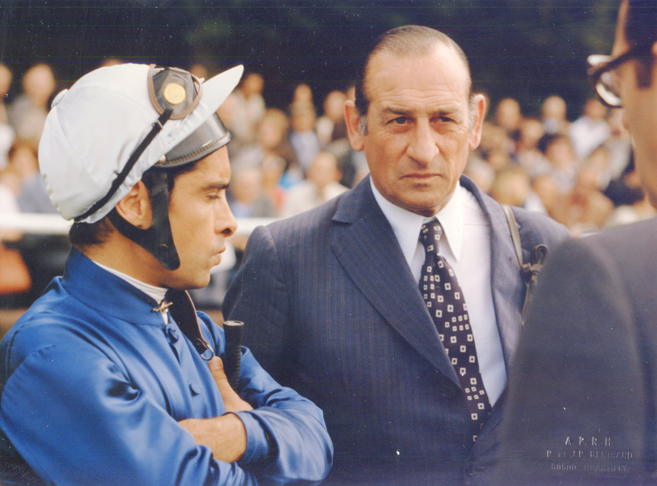 Jockey Yves Saint Martin and trainer Angel Penna, Sr. at Chantilly, December 1977 (A. P. R. H. Bertrand/Museum Collection)
