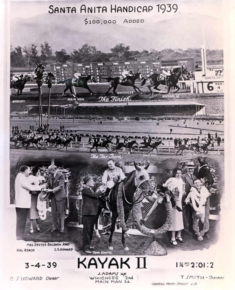 Win composite photograph for the 1939 Santa Anita Handicap, won by Kayak II (trained by Tom Smith) (Santa Anita Photo/Museum Collection)