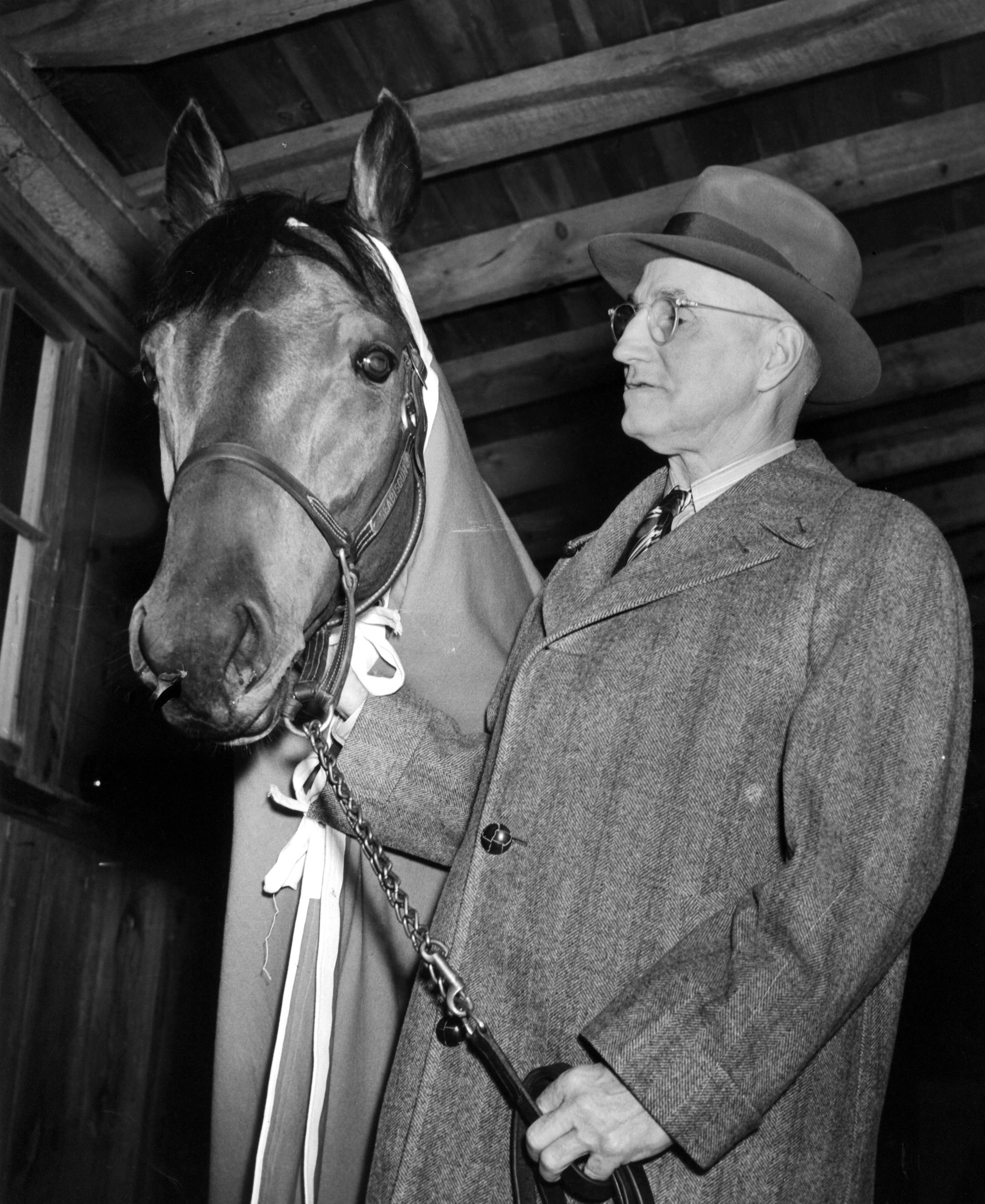 Tom Smith with Seabiscuit at Pimlico, 1938 (Keeneland Library Morgan Collection/Museum Collection)