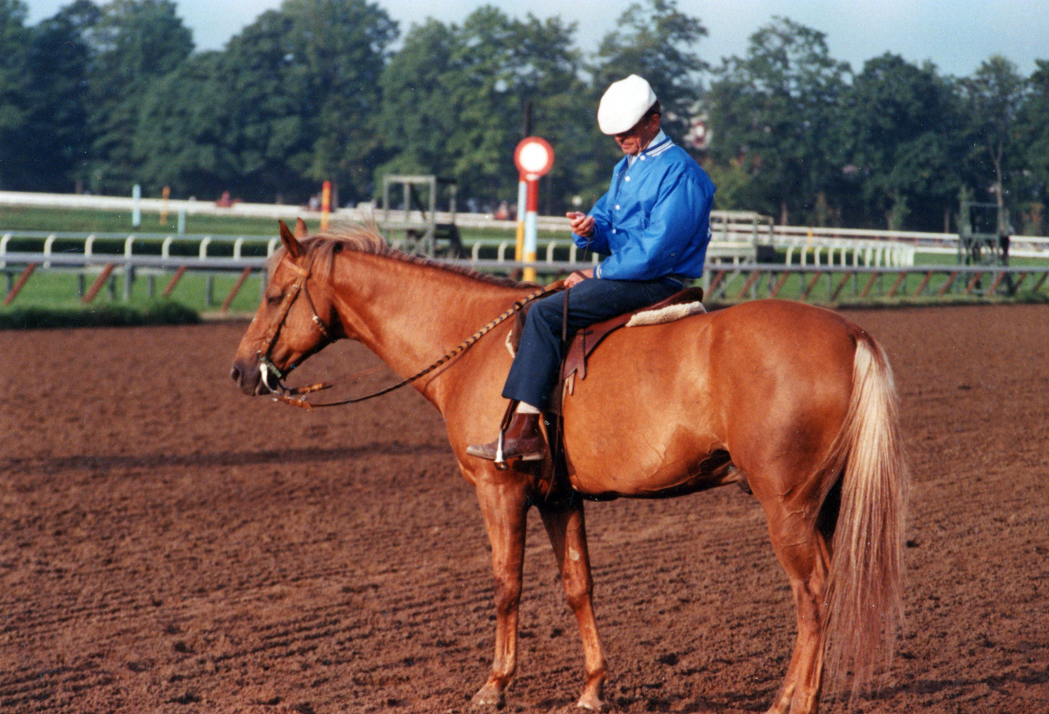 Woody Stephens on Rex, a gift from Fred Astaire, at Saratoga (Mike Pender/Museum Collection)