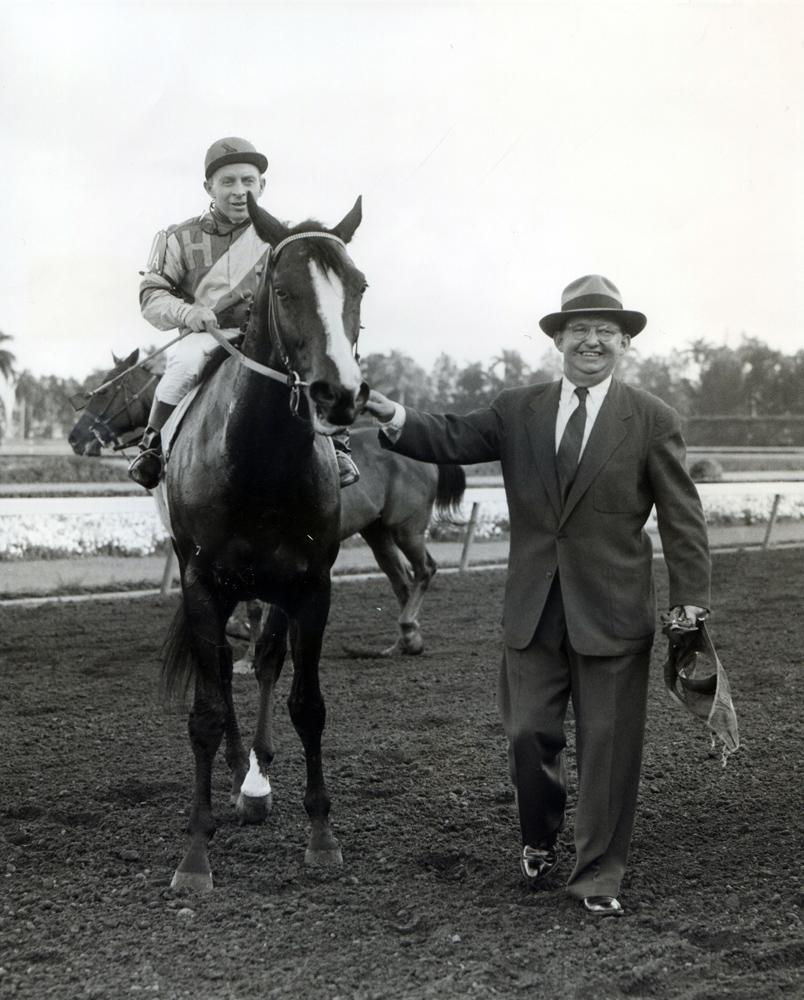 Trainer Harry Trotsek leads in Hasty Road (John Adams up) winner of the 1955 Widener Handicap at Hialeah (Jerry Frutkoff/Museum Collection)