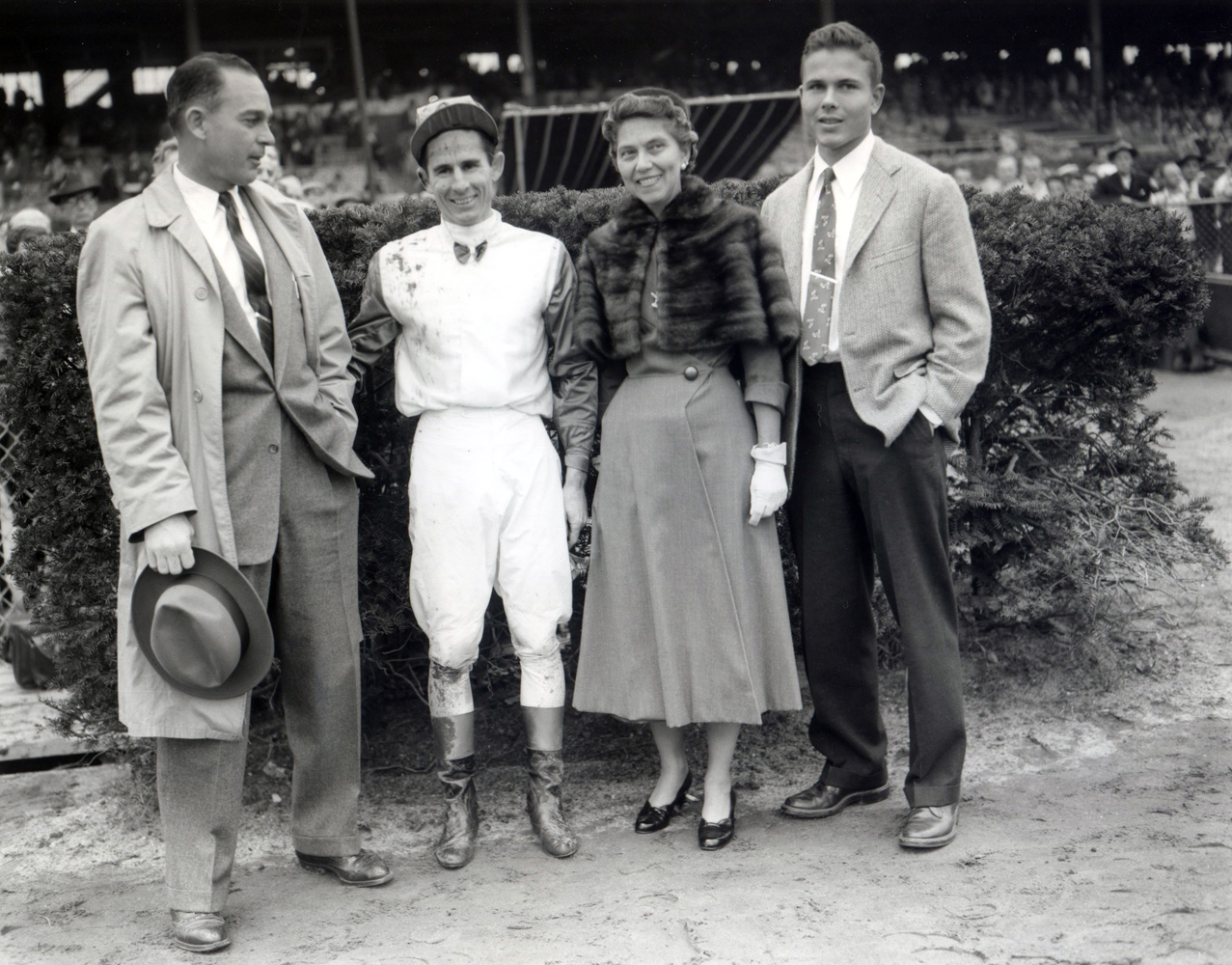 Trainer Sherrill Ward, jockey Eric Guerin and the winning owners of the 1954 Cowdin at Aqueduct, won by Summer Tan (Keeneland Library Morgan Collection/Museum Collection)