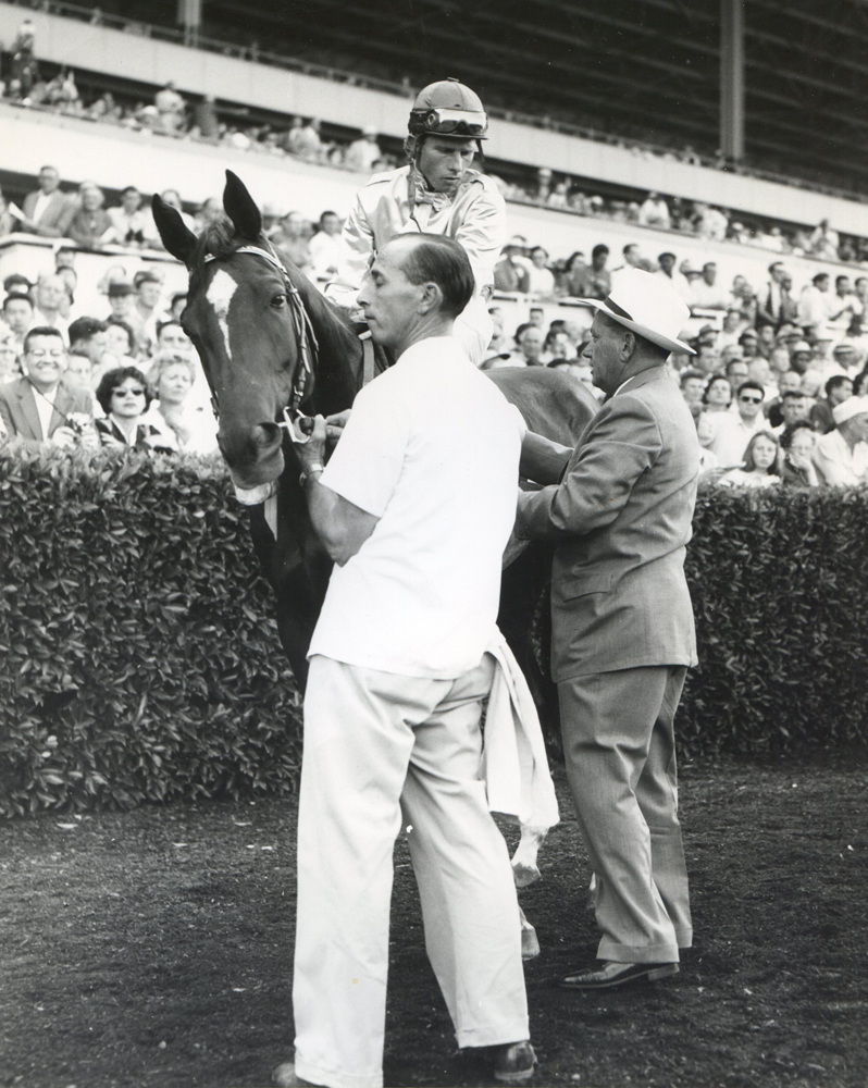 Trainer Robert Wheeler and Silver Spoon (Bill Boland up) at the 1959 Cinema Handicap at Hollywood Park (Museum Collection)