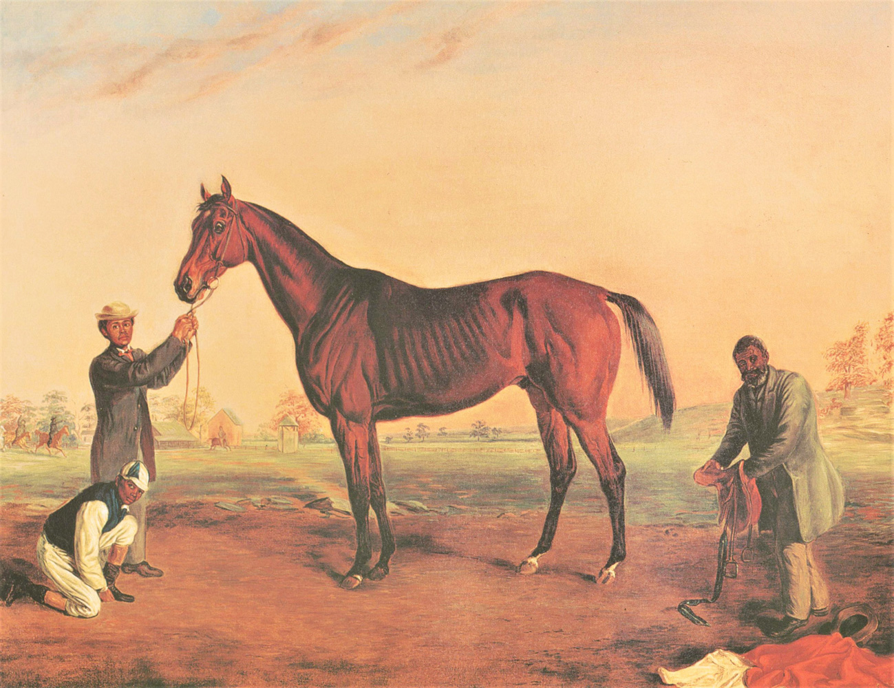 Reproduction of an 1864 Edward Troye portrait of Asteroid with his trainer Ansel Williamson (holding saddle on right) (Keeneland Library Collection)