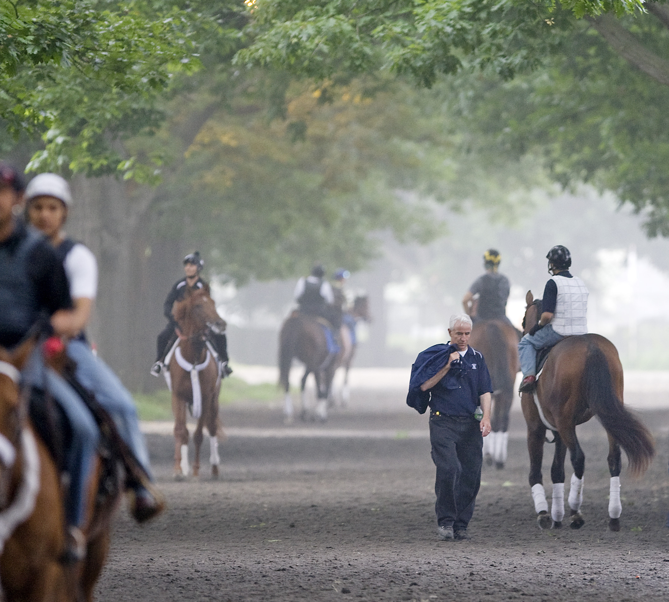 Nick Zito on the horse path at Belmont Park, June 2010 (Barbara D. Livingston)